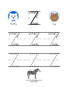 How to write the letter Z, with large images to trace for practice, in free printable PDF format. Free Printable Alphabet Worksheets, Free Printables, To Trace, Colorful Pictures, Preschool Activities, Coloring Pages, Kindergarten, Homeschool, Pdf