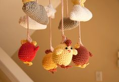 Cute Crocheted Chicken Baby Mobile by minibytes on Etsy, $95.00