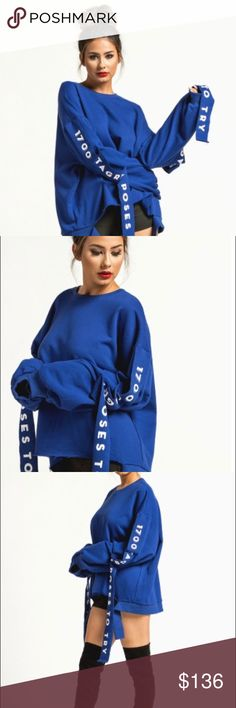 "Blue/Red Oversized Sweater This oversized sweater has ""1700 Instagram Poses to Try"" on the straps of the sweater! Sweaters Crew & Scoop Necks"