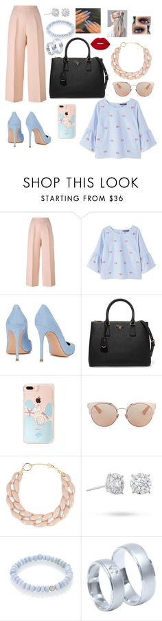 """Untitled #22"" by alwaysbake ❤ liked on Polyvore featuring Fendi, Violeta by Mango, Gianvito Rossi, Prada, Christian Dior, DIANA BROUSSARD, Masquerade, Sydney Evan and Lime Crime"