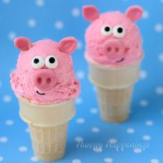 Aren't these Pink Bubble Gum Ice Cream Cone Pigs just too adorable? They are pretty easy to make too!
