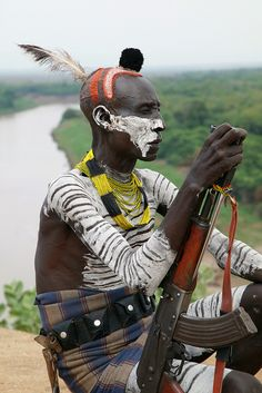 Karo tribal warrior, Omo Valley