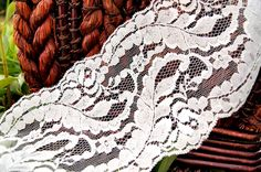 Elegant Off White Leafy Floral Galloon Lace 5'' wide | Lace Trim
