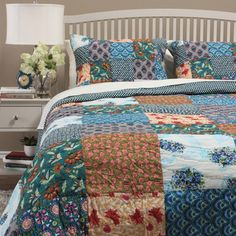 Hailey Patchwork Quilt Set (Twin - Oriental/Designer/Modern & Contemporary/Victorian/Mid-Century Modern/French Country/Southwestern), Blue, Cottage Home (Cotton, Color Block) Most Comfortable Sheets, Western Bedding, Amity Home, Online Bedding Stores, Country Quilts, Twin Quilt, Quilt Sets, Bed Spreads, Bedding Sets