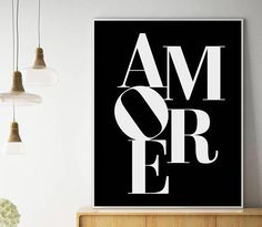 Amore Print Black a Black And White Posters, Black And White Design, White Home Decor, International Paper Sizes, Kids Prints, Typography Poster, Print Store, Printable Wall Art, Wall Decor