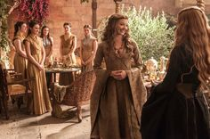 Natalie Dormer as Margaery Tyrell and Lena Headey as Cersei Lannister. Game of Thrones Season Five