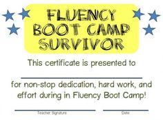 Fluency Boot Camp - lots to read through but would be a great thing to put in place this summer!
