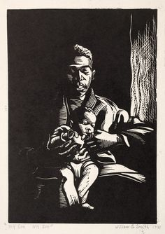 William E. Smith (American, 1913-1997). Printmaker, who studied at CIA 1946-1948. My Son! My Son! (1941). Linoleum cut. The Cleveland Museum of Art, Gift of The Print Club of Cleveland 1941.122