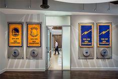 For the Warriors and entire Bay Area, celebrating greatness in common Nba Arenas, Sales Center, Nba Champions, Golden State Warriors, Design Firms, Bay Area, Door Handles, Branding Design, Door Knobs