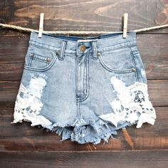 REVERSE Distressed denim shorts with floral crochet detailing ❤ liked on Polyvore featuring shorts, floral shorts, ripped shorts, jean shorts, cutoff shorts and destroyed jean shorts