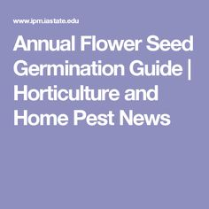 Annual Flower Seed Germination Guide | Horticulture and Home Pest News