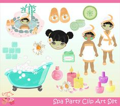 Spa Party Clipart Set by on Etsy
