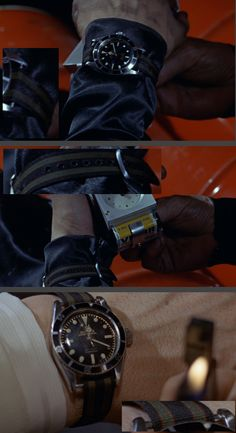 This screen shot shows Sean Connery's Big Crown (no crown guards) Rolex Submariner (Ref. 6538, 38mm case) on a (navy blue, olive and burgundy) regimental nylon strap. Note loose fitting 16mm nylon strap ('not' a NATO) on 20 mm lug width. (Click on photo for larger image.) Photo found here: http://forum.tz-uk.com/showthread.php?124141-where-to-get-bond-NATO-straps