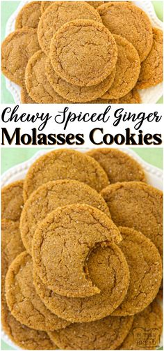 Soft chewy ginger molasses cookies are perfect for the holidays! lovely combination of spices give these molasses cookies incredible flavor and texture ginger molasses cookies baking fall holidays dessert recipe from family cookie recipes brownie cookie Köstliche Desserts, Holiday Desserts, Holiday Baking, Christmas Baking, Fall Dessert Recipes, Best Christmas Cookies, Christmas Snacks, Christmas Cupcakes, Holiday Cookies