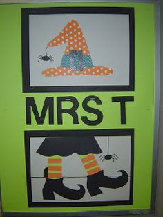 """Mrs. T's First Grade Class: Halloween--Art project to go along with Judi Barrett's book """"Which Witch is Witch?"""""""