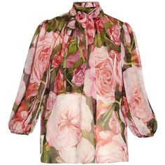 Dolce & Gabbana Rose-print chiffon blouse (25 570 UAH) ❤ liked on Polyvore featuring tops, blouses, pink top, dolce gabbana top, pink chiffon top, pink blouse and chiffon tops