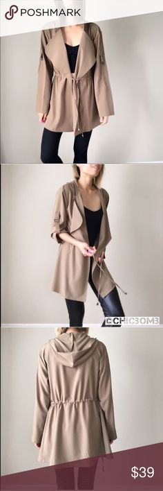 """Katie Fall tan outerwear jacket. Tan mocha light outerwear; drawstring adjustable stretch waist. Classy, clean look for young and precessional. Adjustable sleeve tie. Hooded. Fabric; 97% polyester 3%spandex. Measurement :length /chest/waist. Size S :31""""/38""""/35"""". Size M: 31""""/39""""/36 . Size L: 32""""/40""""/37"""". 👉🏼Follow me on  📸INSTAGRAM: @chic_bomb  and 💁🏻📘FACEBOOK: @thechicbomb CHICBOMB Jackets & Coats Utility Jackets"""