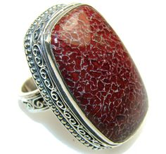 $71.25 Mystries!! Dinosaur Bone Sterling Silver Ring s. 7 1/2 at www.SilverRushStyle.com #ring #handmade #jewelry #silver #bone