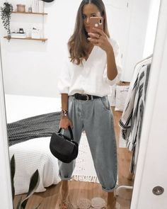 Street Style Outfits, Look Street Style, Mode Outfits, Trendy Outfits, Fashion Outfits, Fashion Tips, Fashion Quiz, Pantalon Slouchy, Slouchy Pants