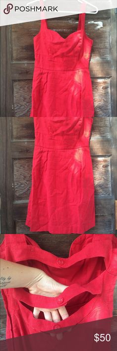 UO/Cooperative Apple red linen sweetheart dress. Decent, used condition. The brand is Cooperative, purchased at UO. Fitted. Uniform color despite the shadows in photo. Really cute straps in back. Sweetheart neckline. Fits a 6 or 8 with smaller chest. Urban Outfitters Dresses Mini