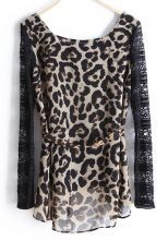 Leopard Contrast Lace Long Sleeve Asymmetrical Blouse $33.79