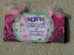 A card wallet made with Kanban Double sided card, Marianne Dies, Ribbon and Spellbinders Dies, with Organza Pink Ribbon