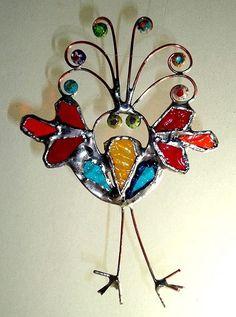 Retro Folk Art Bird Repurposed Glass Ornament Suncatcher