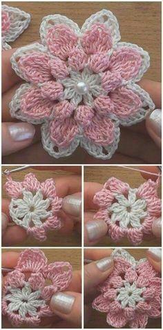 Watch The Video Splendid Crochet a Puff Flower Ideas. Wonderful Crochet a Puff Flower Ideas. Crochet Flower Tutorial, Crochet Flower Patterns, Crochet Designs, Crochet Flowers, Knitting Patterns, Crochet Motifs, Crochet Squares, Crochet Doilies, Crochet Stitches