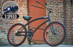 SKULLXBONES Men's 3 speed Beach Cruiser Bike - Flat Black / Red