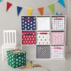 Canvas Storage Cubes - Try Green Stars, Rainbow Stars and the Grey Spot for a unisex colour scheme that will adapt to any room in the house.