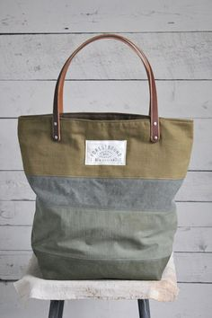e229c5f45b Forestbound - WWII era Pieced Canvas Tote Bag Canvas Leather