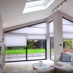 Gable Blinds For Your House Extension - - Patio Door Blinds, Sliding Door Blinds, Diy Blinds, Sliding Glass Door, Living Room Windows, House Windows, Blinds For Windows, Windows And Doors, Conservatory Interiors