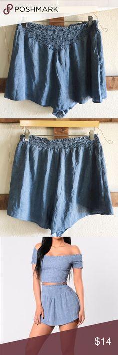 "Dream of you short🌱 Dusty blue dream of you short;skort🌻 elastic band, size L 30"" waist, 14 1/2"" length✂️ Fashion Nova Shorts Skorts"
