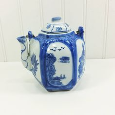 Japanese Blue and White Teapot in White Porcelain. Lovely Landscape Scene with Birds and Rattan wrapped Handle  from #naturegirl22 on Etsy