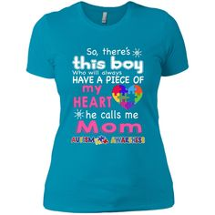 There's This boy - He call me Mom - Autism Awareness shirt - mother's day Next Level Ladies' Boyfriend Tee