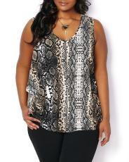 Plus Size Printed Sleeveless Blouse   Penningtons