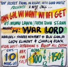 Maxine Walters's Collection of Jamaican Dancehall Signs Jamaica History, Jamaica Resorts, Painting Quotes, Northern Soul, Music Images, Reggae Music, Daddy Yankee, Dance Hall, Lyrics