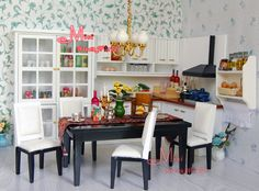1/12Dollhouse Miniature Dining Kitchen Cabinet Table Chair Cupboard | eBay