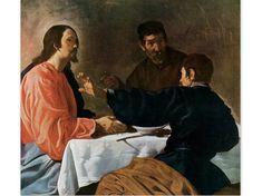 Christ and the Pilgrims at Emmaus by Velazquez - a Frameable Vintage 1954 Art Print
