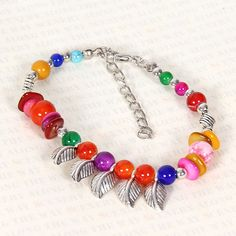 Tibet Silver Multicolor Jade Turquoise Bead Bracelet Feathers Free Shipping by Chasingdreams97 on Etsy
