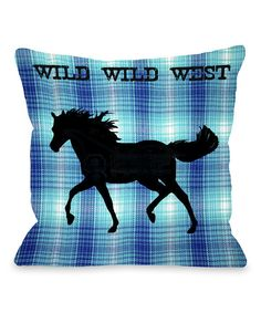Look at this Blue Gingham 'Wild Wild West' Throw Pillow on #zulily today!