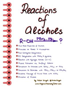 Reactions of Alcohols Cheat Sheets chemistry Alcohols — Organic Chemistry Tutor Organic Chemistry Mechanisms, Organic Chemistry Tutor, Organic Chemistry Reactions, Chemistry Textbook, Study Chemistry, Chemistry Lessons, Chemistry Notes, Teaching Chemistry, Science Chemistry