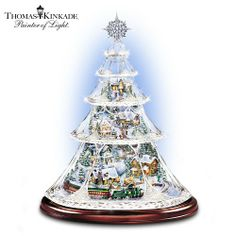 Thomas Kinkade Animated Crystal Tabletop Christmas Tree: Holiday Reflections by The Bradford Exchange Tabletop Christmas Tree, Holiday Tree, Christmas Decorations, Christmas Trees, Christmas Villages, Christmas Snowman, Christmas Cookies, All Things Christmas, Christmas Home