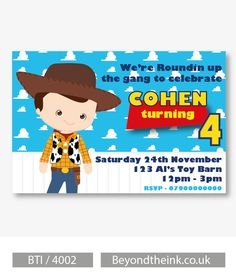 Personalised Toy Story Woody Invitations.  Printed on Professional 300 GSM smooth card with free envelopes & delivery as standard. www.beyondtheink.co.uk