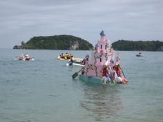 annual Tata Cardboard Boat Race. Best prize is for 'most dramatic sinking'