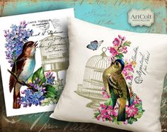 ****BIRDSONG - Large Transfer Images 2-in-1 Digital Collage Sheets to print on tote bags t shirts pillows fabric and paper. $5.30