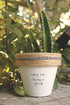 Clever and punny pot holds a cute cactus AND gets a laugh! Use paint, rope and letter stamps to make your own or buy it HERE