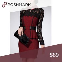 "Plus Sized Black Lace & Burgundy Flounced Dress Short length long sleeved flounced flat collar dress with black lace, peplum style waist, poof shoulders wrap around belted. Chic elegant style. Retro vintage. Plus size 3XL. Bust 40.94"", waist 35.43"", hips 43.31"", sleeve 21.26"". Save the most with bundles. I offer 25% off on bundles of 2+ items. I accept reasonable offers. No trades. I only do business on Poshmark. Boutique Dresses Mini"