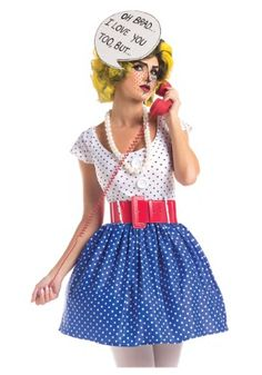 This Plus Size Pop Art Cutie Costume will transform you into a retro comic strip character. Practice all of the dramatic things you'll say while in character!