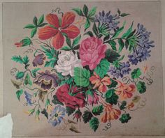 A Beautiful Berlin WoolWork Floral Bouquet Pattern Produced By Grunthals Verlag In Berlin